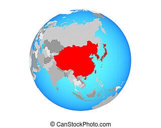 East Asia on globe isolated