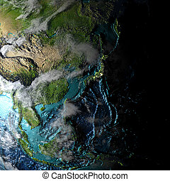 East Asia on physical map