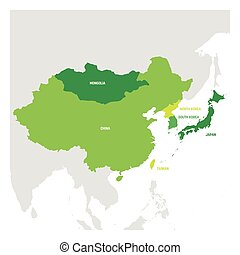 East Asia Region. Map of countries in eastern Asia. Vector illustration