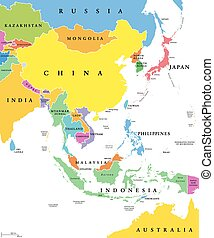 East Asia, single states, political map. All countries in different colors, with national borders, labeled with English country names. Eastern subregion of the Asian continent. Illustration. Vector.
