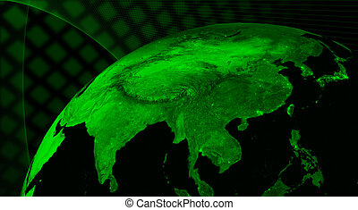 East Asia region technology concept. Elements of this image furnished by NASA.