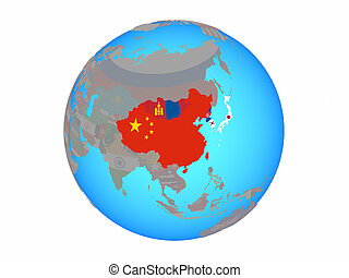 East Asia with flags on globe isolated