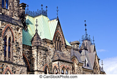 A closeup view of the canadian Parliament East Block gothic architecture.