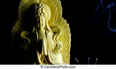 east buddha statue, Smoke Soot filled burning incense.