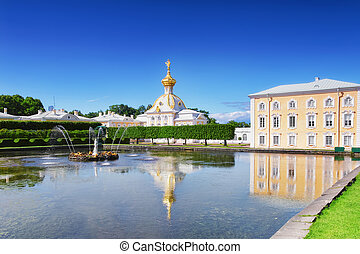 """East Chapel and """" Venus Italic Fountain"""" of Petergof Palace in St. Petersburg. Russia"""