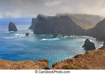 East coast cliffs Madeira - Beautiful landscape view of the...
