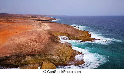 East coast from Aruba island - Aerial from the east coast at...