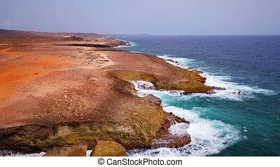 East coast from Aruba island - Aerial from the east coast at...