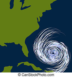East Coast Hurricane Drawing - An image of a hurricane off ...