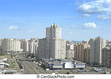 east district of kiev city - white fancy apartment buildings...