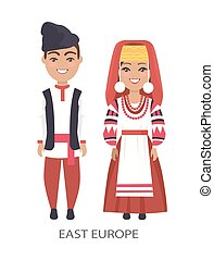 East Europe Costumes on Vector Illustration White - East...