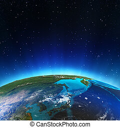 East from space. Elements of this image furnished by NASA