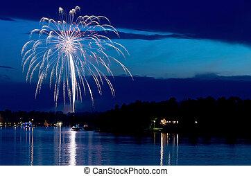 East Gull Lake Fireworks Above Bay - steamboat bay in east ...
