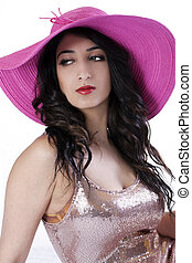 East Indian Teen Woman in Large Hat