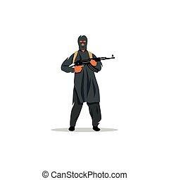 East Islamic commandos with a gun. Vector Illustration.