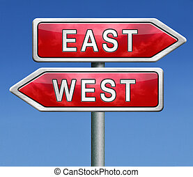 east or west compass opposite directions
