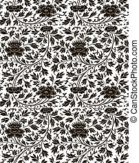 east pattern  - black insulated seamless floral pattern
