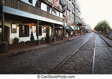 East River Street in Savannah, Georgia.