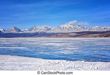 East Sayan from Hovsgol Lake . Mongolia