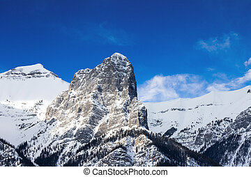 East Side Close up of Mt Rundle in the Canadian Rockies of Canmore, Alberta