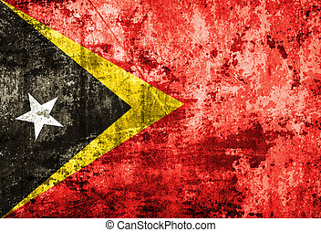 East Timor Flag on old paper