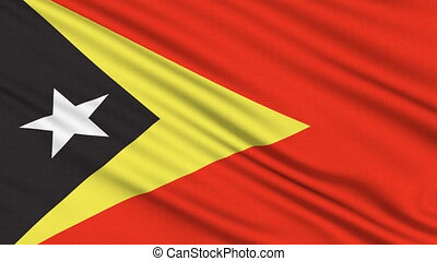 East Timor Flag, with real structure of a fabric