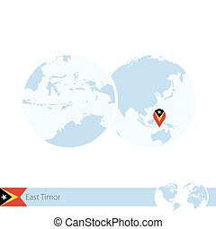 East Timor on world globe with flag and regional map of East...