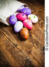 easter αβγό , απεικονίζω , επάνω , ο , ξύλινος , φόντο.