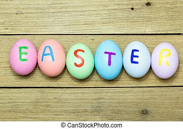 easter αβγό , επάνω , ξύλο , φόντο