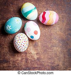 easter αβγό , μέσα , φωλιά , επάνω , αγροτικός , άγαρμπος επενδύω δι , με , copyspace., ευτυχισμένος , easter!