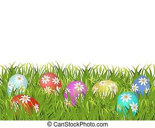 easter., ペイントされた, パターン, 卵, イラスト, grass., イースター, ヒナギク, 幸せ