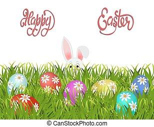 easter., ペイントされた, パターン, 卵, 隔離された, イラスト, バックグラウンド。, grass., うさぎ, 白, イースター, ヒナギク, 幸せ