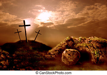 Easter 1 - 2D coloured digital illustration stylised in...
