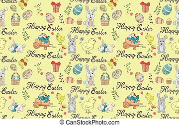 Easter 1 holiday seamless illustration pattern color drawings depicting holiday attributes and greetings inscription in the style of Doodle for design design background is isolated