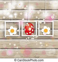 Easter 3 Frames Cherry Flowers Wood