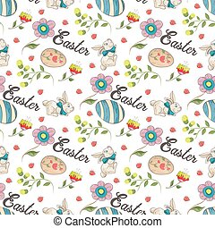 Easter 3 holiday seamless illustration pattern color drawings depicting holiday attributes and greetings inscription in the style of Doodle for design design background is isolated