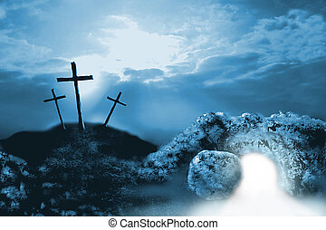 2D coloured digital illustration stylised in photoshop of the crucifixion and resurrection tomb for use at Easter time