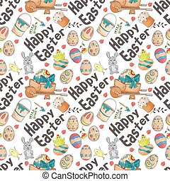 Easter 4 holiday seamless illustration pattern color drawings depicting holiday attributes and greetings inscription in the style of Doodle for design design background is isolated