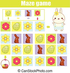 Easter activity for kids. Maze game. Labyrinth with navigation. Help easter rabbit find eggs. Fun activity for pre school kids and toddlers