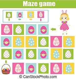 Easter activity. Maze game. Egg hunt. Labyrinth with...
