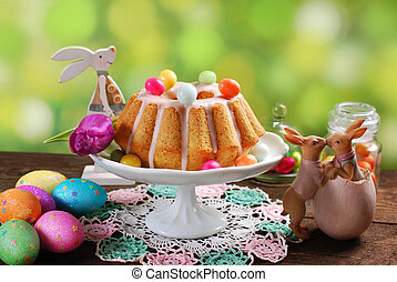 easter almond ring cake on wooden table