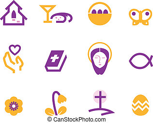 Easter and christianity icon set isolated on white ( purple...