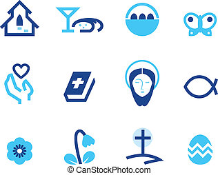 Easter and christianity icon set isolated on white ( blue )
