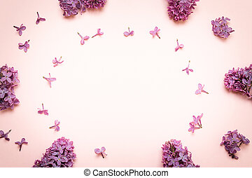 Floral frame composition with lilac flowers