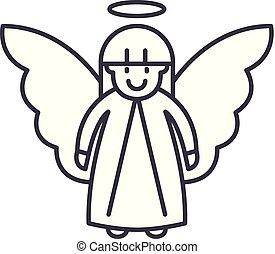 Easter angel line icon concept. Easter angel vector linear illustration, symbol, sign