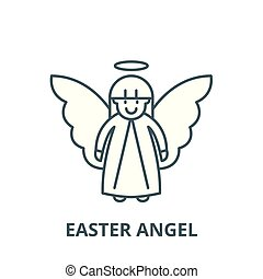 Easter angel vector line icon, linear concept, outline sign, symbol
