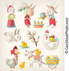 Colorful images of Easter characters and animals for spring holiday
