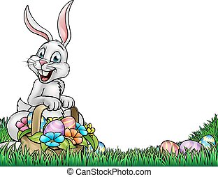 A cartoon Easter background with a bunny holding a basket full of Easter Eggs