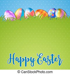 Easter background and egg in grass