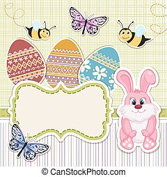 Easter background card with bunny